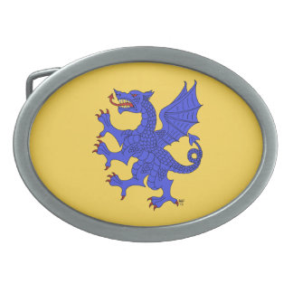 Drache-zügelloses Azurblau Ovale Gürtelschnallen