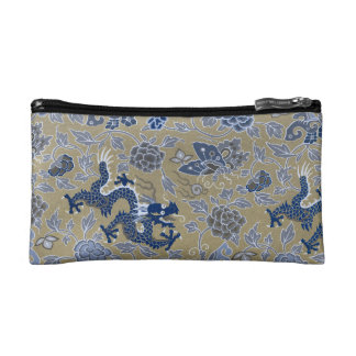 Drachen, Blumen, Schmetterlinge - Blau auf Makeup-Tasche