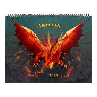 Drachen Kalender, Dragon Calendar, (36cm x 28cm) Kalender