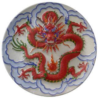 Drachen, Schlangen und Feuer Porzellanteller