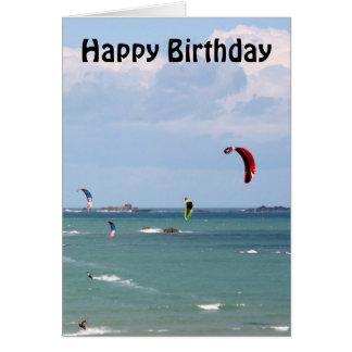 Drachen-surfendes Rennen-alles Gute zum Geburtstag Karte