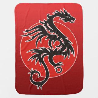 Drachesun-Power - schwarzes rotes Weiß + Ihre Kinderwagendecke