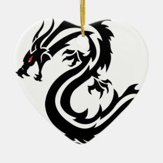 Drachetotem Chinaelemente Keramik Herz-Ornament