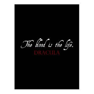 Dracula-Zitat: Das Blut ist das Leben Postkarte