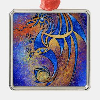 Dragissous V1 - blauer Drache Silbernes Ornament