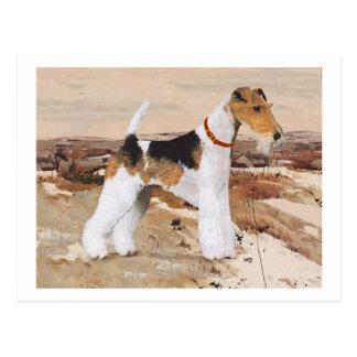 Draht-Foxterrier-Herbst Postkarte