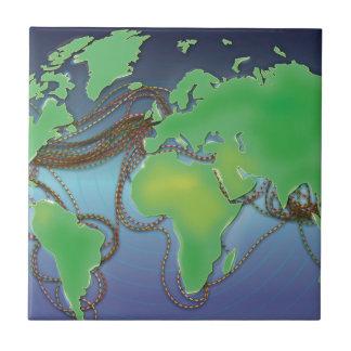 Drähte der Welt - unterseeische Kabel Kleine Quadratische Fliese