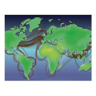 Drähte der Welt - unterseeische Kabel Postkarte