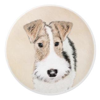 Drahtfox-Terrier-Malerei - niedliche ursprüngliche Keramikknauf