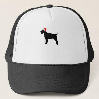 Drahthaar, das Griffon Hund mit roter Truckerkappe