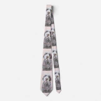Drahthaar, das Griffon Malerei - Hundekunst zeigt Krawatte