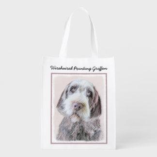 Drahthaar, das Griffon Malerei - Hundekunst zeigt Wiederverwendbare Einkaufstasche
