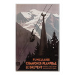 Drahtseilbahn-Plakat Funiculaire Le Brevent