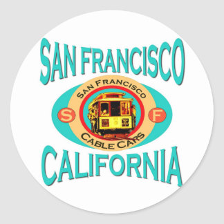 Drahtseilbahn San Francisco Runde Aufkleber