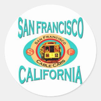 Drahtseilbahn San Francisco Runder Aufkleber