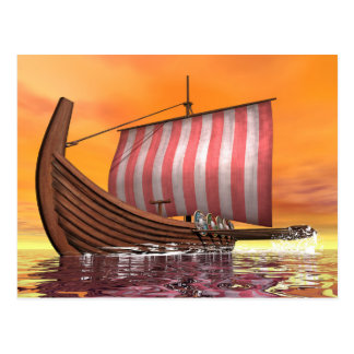 Drakkar oder Wikinger-Schiff - 3D übertragen Postkarte