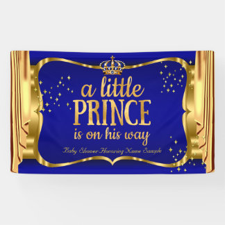 Drapiert blaue Goldkrone Prinz-Babyparty Banner