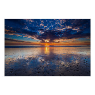 Drastischer Meerblick, Sonnenuntergang, CA Poster