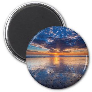 Drastischer Meerblick, Sonnenuntergang, CA Runder Magnet 5,1 Cm