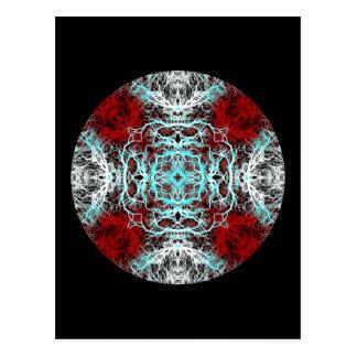 Drastisches rundes Muster. Rot und Türkis Postkarte