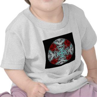 Drastisches rundes Muster. Rot und Türkis Tshirt