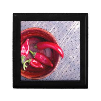 Draufsicht der Früchte der heißen roten Schmuckschachtel
