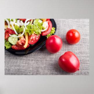 Draufsicht der Nahaufnahme über frische Tomaten Poster