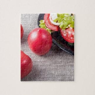Draufsicht der Nahaufnahme über frische Tomaten Puzzle
