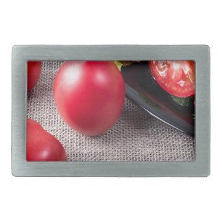 Draufsicht der Nahaufnahme über frische Tomaten Rechteckige Gürtelschnalle