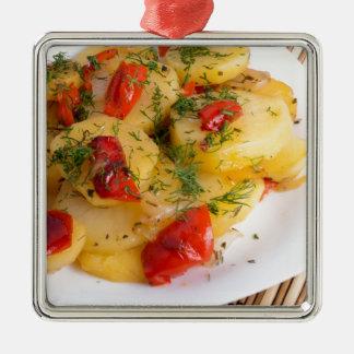 Draufsicht des vegetarischen Tellers der Bio Quadratisches Silberfarbenes Ornament