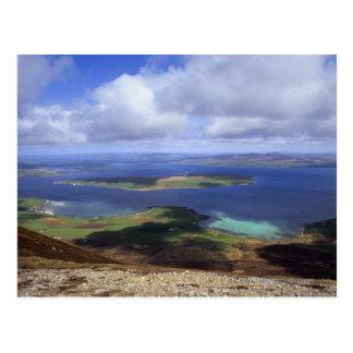 Draufsicht: graemsay u. Orkneys Festland burra Postkarten