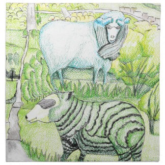 drawing_sheep auf Hügel Stoffserviette