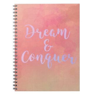 Dream And Conquer Girly Watercolor Notebook Notizblock
