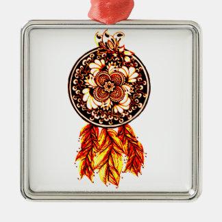 Dreamcatcher 2 quadratisches silberfarbenes ornament
