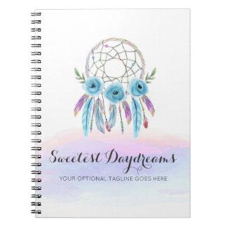 Dreamcatcher Aquarell versieht rustikales Boho Spiral Notizblock