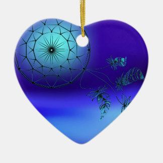 Dreamcatcher im Hintergrund des Mondes Keramik Herz-Ornament