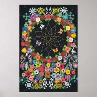 Dreamcatcher Kranz mit Blumen Poster