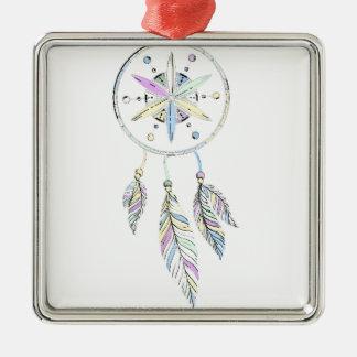 Dreamcatcher Quadratisches Silberfarbenes Ornament