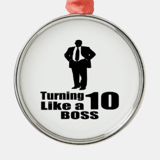 Drehen 10 wie ein Chef Rundes Silberfarbenes Ornament