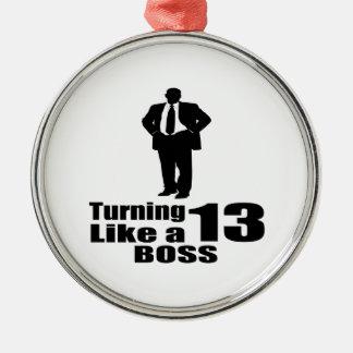 Drehen 13 wie ein Chef Rundes Silberfarbenes Ornament