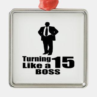 Drehen 15 wie ein Chef Silbernes Ornament