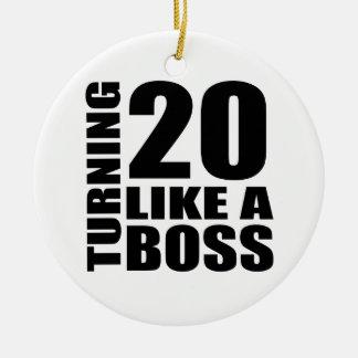 Drehen 20 wie ein Chef-Geburtstags-Entwürfe Rundes Keramik Ornament