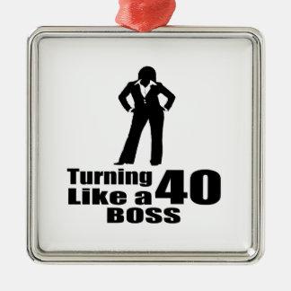 Drehen 40 wie ein Chef Silbernes Ornament