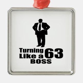 Drehen 63 wie ein Chef Quadratisches Silberfarbenes Ornament