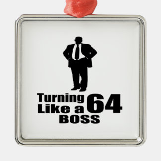 Drehen 64 wie ein Chef Quadratisches Silberfarbenes Ornament