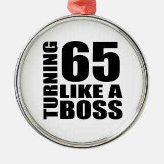 Drehen 65 wie ein Chef-Geburtstags-Entwürfe Rundes Silberfarbenes Ornament