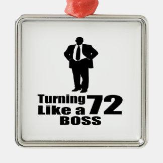 Drehen 72 wie ein Chef Quadratisches Silberfarbenes Ornament