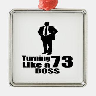 Drehen 73 wie ein Chef Quadratisches Silberfarbenes Ornament