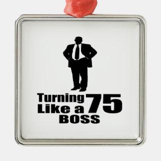 Drehen 75 wie ein Chef Quadratisches Silberfarbenes Ornament