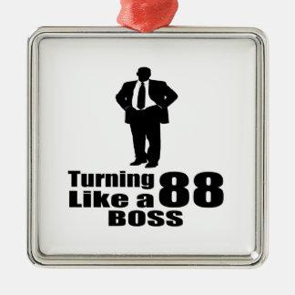 Drehen 88 wie ein Chef Quadratisches Silberfarbenes Ornament
